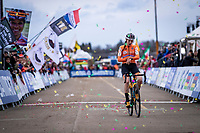 Lucinda Brand (NED) finishing 3th place. <br /> <br /> Women's Elite Race<br /> UCI 2020 Cyclocross World Championships<br /> Dübendorf / Switzerland<br /> <br /> ©kramon