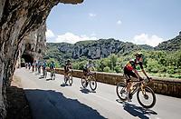 yesterday's stage winner Belgian National Champion Wout van Aert (BEL/Jumbo-Visma) rolling through the spectacular Gorges de l'Ardèche<br /> <br /> Stage 12 from Saint-Paul-Trois-Châteaux to Nîmes (159km)<br /> 108th Tour de France 2021 (2.UWT)<br /> <br /> ©kramon