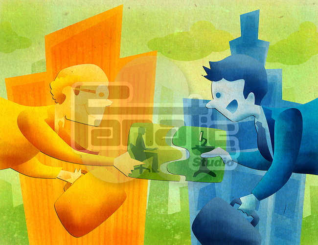 Conceptual image representing the merger of two companies