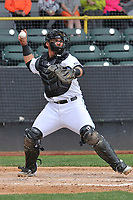 Clinton LumberKings catcher Yojhan Quevedo (11) throws to second base during a game against the Lansing Lugnuts at Ashford University Field on May 9, 2017 in Clinton, Iowa.  The Lugnuts won 11-6.  (Dennis Hubbard/Four Seam Images)