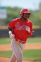 Philadelphia Phillies Kendall Simmons (21) rounds the bases after hitting a home run during an exhibition game against the Canada Junior National Team on March 11, 2020 at Baseball City in St. Petersburg, Florida.  (Mike Janes/Four Seam Images)