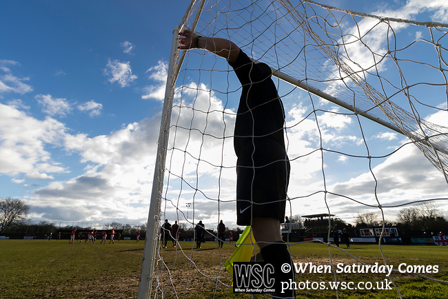 Rushall Olympic 1 Workingon 0, 17/02/2018. Dales Lane, Northern Premier League Premier Division. The Referees Assistant checks the net before kick off. Photo by Paul Thompson. Rushall Olympic 1 Workingon 0, Northern Premier League Premier Division, 17th February 2018. Rushall is a former mining village now part of the northern suburbs of Walsall.