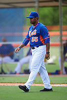 GCL Mets manager Jose Carreno (55) walks to the mound during a game against the GCL Marlins on August 12, 2016 at St. Lucie Sports Complex in St. Lucie, Florida.  GCL Marlins defeated GCL Mets 8-1.  (Mike Janes/Four Seam Images)