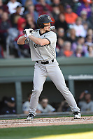 Catcher Taylor Hunter (38) of the South Carolina Gamecocks bats in the Reedy River Rivalry game against the Clemson Tigers on Saturday, March 3, 2018, at Fluor Field at the West End in Greenville, South Carolina. Clemson won, 5-1. (Tom Priddy/Four Seam Images)
