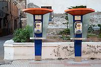 Essaouira, Morocco.  Old Public Payphones, Avenue Okba Nafia.
