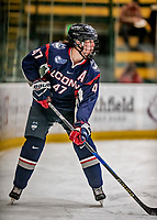 9 February 2018: University of Connecticut Huskie Defender Jaime Fox, a Junior from Unionville, Ontario, in first period action against the University of Vermont Catamounts at Gutterson Fieldhouse in Burlington, Vermont. The Lady Cats defeated the Huskies 1-0 the first game of their weekend Hockey East series. Mandatory Credit: Ed Wolfstein Photo *** RAW (NEF) Image File Available ***