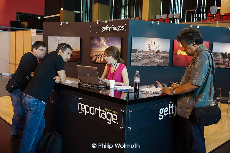 Getty Images stand at the Visa Pour L'Image festival of photojournalism, Perpignan, France.