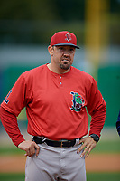 Lowell Spinners manager Luke Montz (30) during introductions before a NY-Penn League Semifinal Playoff game against the Batavia Muckdogs on September 4, 2019 at Dwyer Stadium in Batavia, New York.  Batavia defeated Lowell 4-1.  (Mike Janes/Four Seam Images)