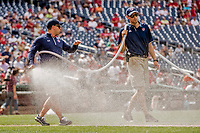8 July 2017: Members of the Washington Nationals Grounds Crew prepare the field for play prior to a game against the Atlanta Braves at Nationals Park in Washington, DC. The Braves shut out the Nationals 13-0 to take the third game of their 4-game series. Mandatory Credit: Ed Wolfstein Photo *** RAW (NEF) Image File Available ***
