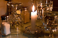 Romantic candle lit table setting in a Little Italy restaurant, NYC, New York