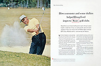 Doug Ford golfs with SearsClubs, 1965 print ad, Ogilvy, Benson & Mather. Photo by John G. Zimmerman.