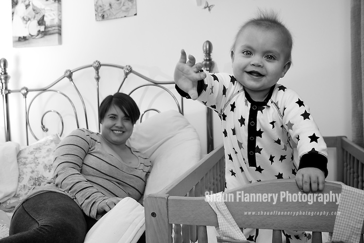 Pix: Shaun Flannery/shaunflanneryphotography.com...COPYRIGHT PICTURE>>SHAUN FLANNERY>01302-570814>>07778315553>>..16th December 2010..............NHS Barnsley - SleepSafe campaign..To educate parents/families to reduce the risk of sudden infant deaths, by following the advised sleep safe guidance..8 month old Dexter..Quest Avenue, Hemmingfield.