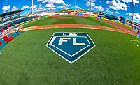 24 February 2019: A Grapefruit League Florida Logo is painted on the grass, seen prior to a Spring Training game between the Washington Nationals and the St. Louis Cardinals at Roger Dean Stadium in Jupiter, Florida. The Cardinals fell to the Nationals 12-2 in Grapefruit League play. Mandatory Credit: Ed Wolfstein Photo *** RAW (NEF) Image File Available ***