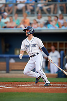 Charlotte Stone Crabs Tyler Frank (5) hits a single during a Florida State League game against the Fort Myers Miracle on April 6, 2019 at Charlotte Sports Park in Port Charlotte, Florida.  Fort Myers defeated Charlotte 7-4.  (Mike Janes/Four Seam Images)
