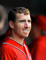 1 May 2011: Washington Nationals first baseman Adam LaRoche looks up at the scoreboard during a game against the San Francisco Giants at Nationals Park in Washington, District of Columbia. The Nationals defeated the Giants 5-2. Mandatory Credit: Ed Wolfstein Photo