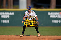 Savannah Bananas shortstop Gabe Howell (6) during a Coastal Plain League game against the Macon Bacon on July 15, 2020 at Grayson Stadium in Savannah, Georgia.  Savannah wore kilts for their St. Patrick's Day in July promotion.  (Mike Janes/Four Seam Images)