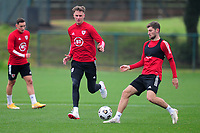 Joe Rodon and Ben Davies of Wales in action during the Wales Training Session at The Vale Resort in Cardiff, Wales, UK. Monday 5 October 2020