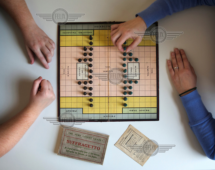 A copy of the board game of Suffragetto, dating from the early 20th century, being displayed at the Bodlian Library. The game pitted Suffragettes against the Police in central London and Parliament.