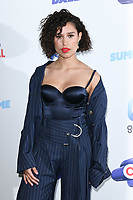 LONDON, UK. June 08, 2019: Raye poses on the media line before performing at the Summertime Ball 2019 at Wembley Arena, London<br /> Picture: Steve Vas/Featureflash
