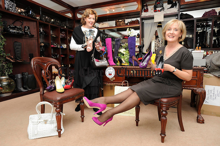 """If The Shoe Fits Buy It In Every Colour!....... Maureen Dolan of Nozomi Shoe Boutique with Aineis Brock of Carrigoran House at the launch of the  """"High Heels and Handbags"""" fashion event which takes place in the Strand Hotel Limerick on Sunday October 5th to raise funds for Dimemsia and Alzheimer Services at Carrigoran House. Photograph by John Kelly."""