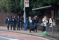 Students return after Covid-19 Lockdown in Sidcup, Kent, England on the 8 March 2021. Photo by Alan Stanford .