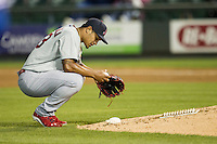 Memphis Redbirds pitcher Sam Tuivailala (23) prepares to take the mound during Pacific Coast League game against the Round Rock Express on April 21, 2015 at the Dell Diamond in Round Rock, Texas. Round Rock defeated Memphis 2-1. (Andrew Woolley/Four Seam Images)