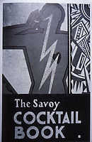 Illustrated book cover, Savoy Cocktail Book by English bartender,Harry Craddock, one of the most famous bartenders of the 1920s and 1930s. He is known for his tenure at the Savoy Hotel in London. Sept. 1989,