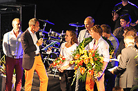 TURNEN: HEERENVEEN: centrum Heerenveen, 16-08-2012, Huldiging Olympisch kampioen, Céline van Gerner en Epke Zonderland worden toegesproken door Hans Gootjes (topsportmanager KNGU/teammanager OS), ©foto Martin de Jong