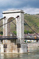 Passerelle Marc seguin, the cable bridge across the Rhone river hermitage rhone france