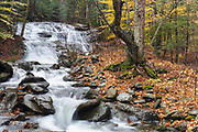 Stark Falls on Stark Falls Brook in New Hampshire's Kinsman Notch in the White Mountains during the autumn months.