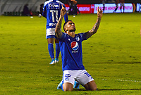 TUNJA - COLOMBIA, 4-12-202. Cristian Arango  de Millonarios  celebra gol a Patriotas Boyacá ./Cristian Arango player of Millonarios celebrates after scoring a goal agaisnt of Patriotas Boyaca during the 2st date for the BetPlay DIMAYOR Liguilla 2020 played at La Independencia  Stadium in Tunja. / Photos: VizzorImage / Edward Leguizamón / Contribuidor