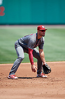 Lehigh Valley IronPigs third baseman Mitch Walding (10) during a game against the Rochester Red Wings on July 1, 2018 at Frontier Field in Rochester, New York.  Rochester defeated Lehigh Valley 7-6.  (Mike Janes/Four Seam Images)