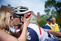 winner Kenny Dehaes (BEL) gets his victory kiss by girlfriend Romina Planckaert<br /> <br /> Halle - Ingooigem 2013<br /> 197km