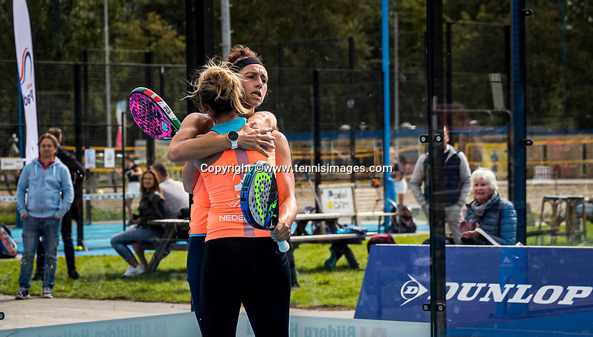 Netherlands, September 6,  2020, Amsterdam, Padel Dam, NK Padel, National  Padel Championships, Chayenne Ewijk (NED) and Rosalie van der Hoek (NED)  (R) win the semifanals and celebrate<br /> Photo: Henk Koster/tennisimages.com