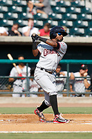Hickory Crawdads infielder Yonny Hernandez (1) at bat during a game against the Charleston Riverdogs at the Joseph P. Riley Ballpark in Charleston, South Carolina.  Hickory defeated Charleston 8-7. (Robert Gurganus/Four Seam Images)