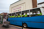 © Joel Goodman - 07973 332324 . 28/05/2011 . Blackpool, UK . Police are bussed away after the demonstration . About 2,000 people attend an English Defence League demonstration. The EDL say the protest was organised after the failed prosecution of local takeaway owners who they allege are responsible for the disappearance and suspected murder of 14 year old Charlene Downes. Photo credit : Joel Goodman