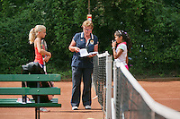 August 4, 2014, Netherlands, Dordrecht, TC Dash 35, Tennis, National Junior Championships, NJK,  Kiki Rijk (L) the Umpire  and Samito Mallo<br /> Photo: Tennisimages/Henk Koster