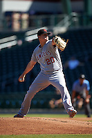 Scottsdale Scorpions pitcher Grayson Long (20), of the Los Angeles Angels of Anaheim organization, during a game against the Mesa Solar Sox on October 21, 2016 at Sloan Park in Mesa, Arizona.  Mesa defeated Scottsdale 4-3.  (Mike Janes/Four Seam Images)