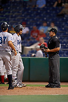 Tampa Tarpons Oswaldo Cabrera (3) argues a call with umpire Jhonatan Biarreta during a Florida State League game against the Clearwater Threshers on April 18, 2019 at Spectrum Field in Clearwater, Florida.  Clearwater defeated Tampa 10-3.  (Mike Janes/Four Seam Images)