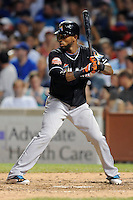 Miami Marlins shortstop Jose Reyes #7 awaits a pitch during a game against the Chicago Cubs at Wrigley Field on July 17, 2012 in Chicago, Illinois. The Marlins defeated the Cubs 9-5. (Tony Farlow/Four Seam Images).