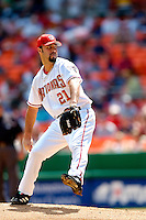 4 September 2005: Esteban Loaiza, pitcher for the Washington Nationals, on the mound against the Philadelphia Phillies. Esteban earned his 10th win of the season as the Nationals defeated the Phillies 6-1 at RFK Stadium in Washington, DC. Mandatory Photo Credit: Ed Wolfstein.