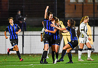 Brugge's Nicky Van Den Abbeele pictured celebrating after scoring a goal during a female soccer game between Sporting Charleroi and Club Brugge YLA on the fourth matchday of the 2020 - 2021 season of Belgian Scooore Womens Super League , friday 9 nd of October 2020  in Marcinelle , Belgium . PHOTO SPORTPIX.BE | SPP | DAVID CATRY
