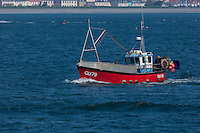 Royaume-Uni, îles Anglo-Normandes, île de Guernesey, Saint Peter Port: bateau de pêche rentrant au port // United Kingdom, Channel Islands, Guernsey island, Saint Peter Port: fishing boat