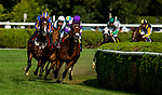 SARATOGA SPRINGS, NY - AUGUST 26: The Field for the Sword Dancer races around the turn at Saratoga Race Course on August 26, 2017 in Saratoga Springs, New York.(Photo by Alex Evers/Eclipse Sportswire/Getty Images)