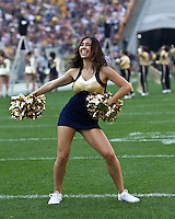 Pitt cheerleader. The Pittsburgh Panthers beat the Buffalo Bulls 35-16 at Heinz field in Pittsburgh, Pennsylvania on September 3, 2011