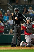 Umpire Louie Krupa calls a strike during a game between the Worcester Red Sox and Rochester Red Wings on September 3, 2021 at Frontier Field in Rochester, New York.  (Mike Janes/Four Seam Images)