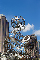 """Photography of the First Ward Park in Uptown/Downtown Charlotte, North Carolina.<br /> First Ward Park is a 4.6 acre urban park  in the First Ward neighborhood.<br /> Sculpture joins the First Ward as new park comes together.<br /> <br /> Sculpture by Jaume Plensa, """"Ainsa III"""" at the UNC Charlotte Center City Building<br /> <br /> <br /> <br /> Charlotte Photographer -PatrickSchneiderPhoto.com"""