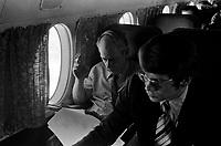 Rene Levesque et son attache de presse Jean Dore, futur Maire de Montreal,<br /> en 1971<br /> <br /> Photographe : Jacques Thibault- Agence Quebec Presse