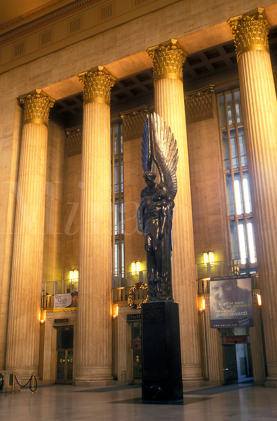train station, Amtrak, Philadelphia, Pennsylvania, PA, Inside the ornate lobby of 30th Street Station in downtown Philadelphia.
