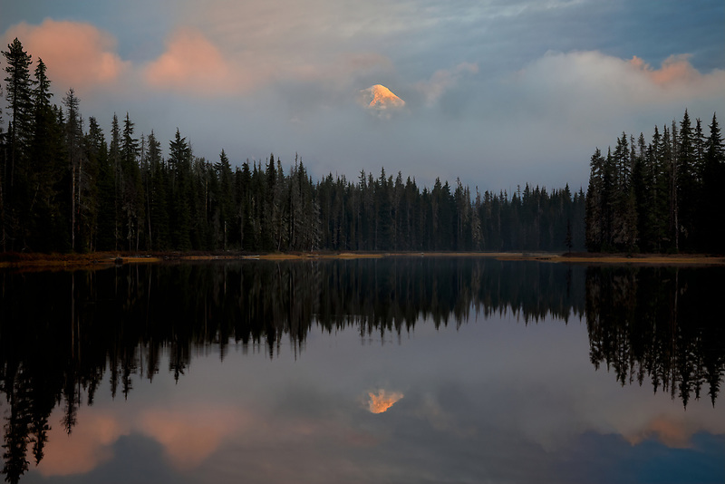 Middle Sister Mountain and Scott Lake at sunset.  Willamette National Forest, Oregon
